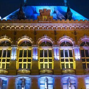 Night winter view of the Artus Court in Torun